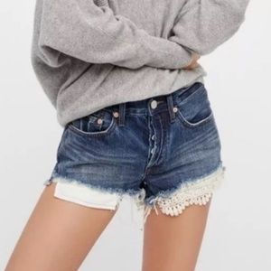 NWT Free People lace applique frayed shorts